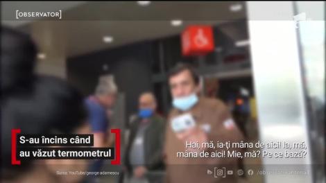 În Bucureşti, trei oameni au pornit o revoltă în parcarea unui supermarket după ce au refuzat ca paznicii centrului comercial să le măsoare temperatura