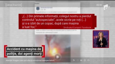 Accident cumplit în Brăila. Doi polițiști au murit arși de vii după ce mașina în care se aflau s-a izbit de un copac