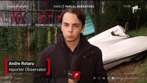 Furtuna din București a răsturnat o barcă pe lacul Herăstrău