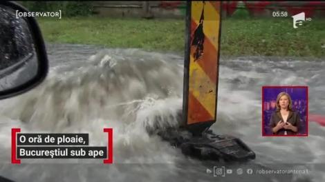 După o oră de ploaie, Bucureștiul a ajuns sub ape