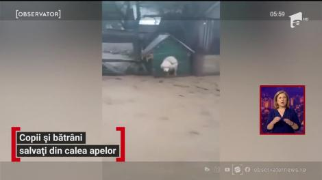 Copii și bătrâni salvați din calea apelor. Ploile le-au distrus complet locuințele