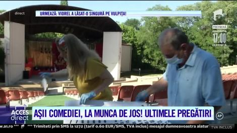 Așii comediei, la munca de jos! Vasile Muraru şi Valentina Fătu, repetiții la teatru, cu mătura și șpaclul în mână! | VIDEO