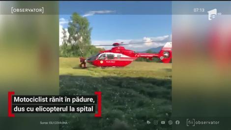 Motociclist rănit în pădure, dus cu elicopterul la spital