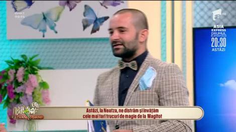 """Maestrul umorului din România la """"Neatza"""". Magitot, cele mai tari trucuri de magie: """"Răzvan, câte ouă are Dani, la spate?"""""""