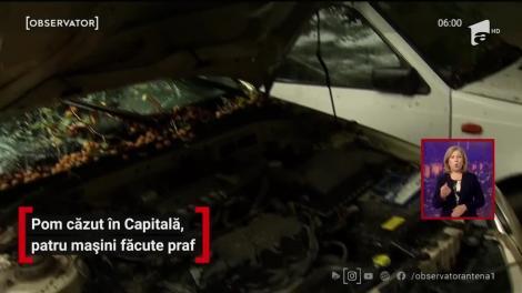Pom căzut în Capitală, patru mașini făcute praf
