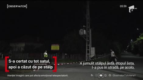 Caz şocant într-o localitate din Dâmboviţa. După ce s-a certat cu tot satul, un bărbat s-a urcat pe un stâlp de pe care a căzut electrocutat