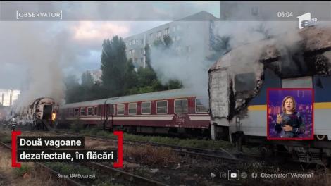 Două vagoane de tren au ars, în Capitală