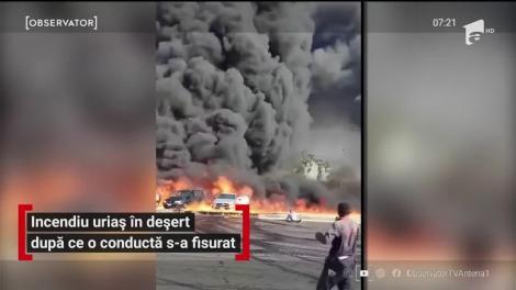 Incendiu violent în deşertul din Egipt. Flăcările şi fumul puternic se putea observa de la kilometri distanţă