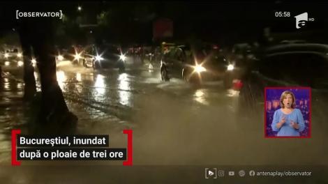 Bucureștiul, inundat după o ploaie de trei ore