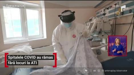 Fără locuri la ATI în spitalele COVID