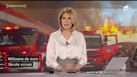 Un incendiu violent a înghiţit depozite de milioane de euro, lângă Bucureşti