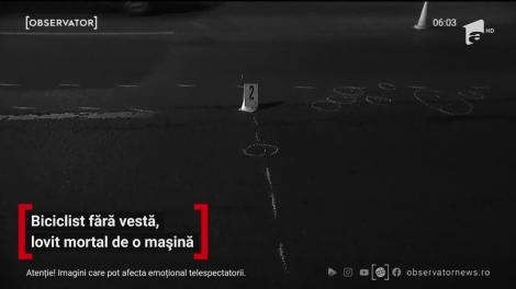 Biciclist fară vesta reflectorizantă, lovit mortal de o mașină
