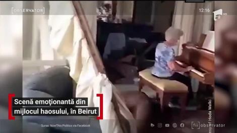 Imagini emoționante în Beirut. O femeie de 79 de ani cântă la pian în mijlocul casei distruse