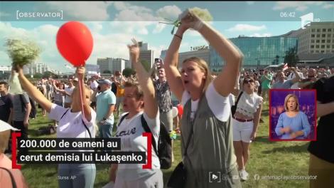 200.000 de oameni au cerut demisia lui Lukașenko