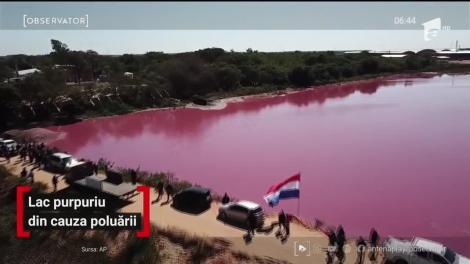 Lac purpuriu din cauza poluării, în Paraguay