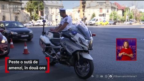 Poliţiştii Brigăzii Rutiere din Bucureşti au dat peste o sută de amenzi, în doar două ore
