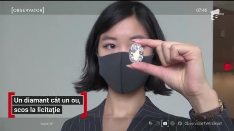Un diamant cât un ou de găină va fi scos la licitaţie în Hong Kong