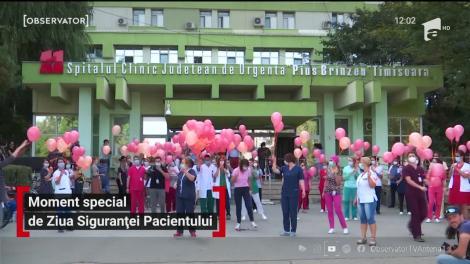 Moment special de Ziua Siguranței Pacientului, în Timișoara. Cadrele medicale lansează baloane portocalii