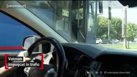 Vatman împușcat în trafic