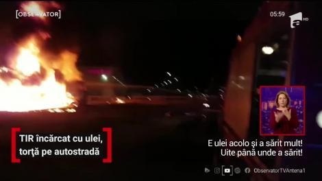 Un TIR încărcat cu ulei a luat foc şi a ars ore întregi ca o torţă, pe Autostrada Bucureşti-Piteşti