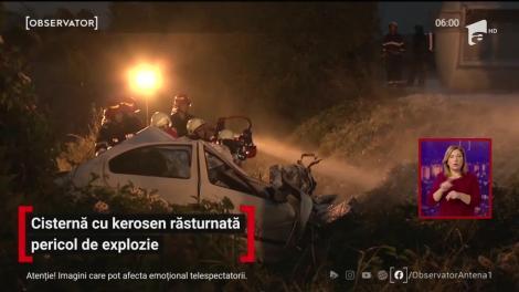 Cisternă cu kerosen răsturnată, pericol de explozie în Prahova