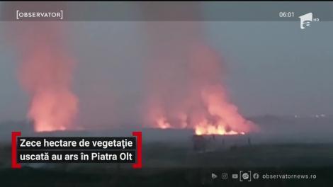 Un incendiu puternic de vegetaţia uscată, în judeţul Olt