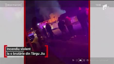 Incendiu violent în Târgu Jiu. O brutărie din cartierul Slobozia a fost cuprinsă de flăcări