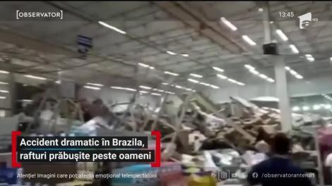 Accident dramatic într-un supermarket Brazilia, rafturi prăbușite peste oameni