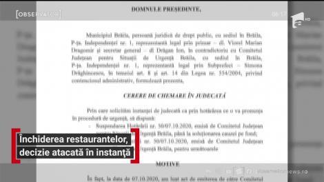 Închiderea restaurantelor, decizie atacată în instanță