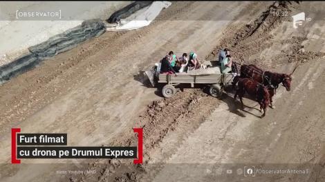 Furt filmat cu drona pe drumul expres Craiova-Pitești