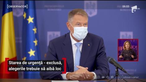 Klaus Iohannis exclude starea de urgență. Alegerile trebuie să aibă loc