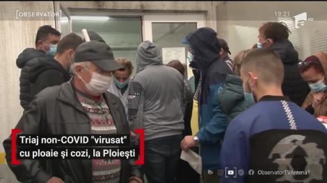 Triaj non- COVID virusat cu ploaie și cozi, la Ploiești