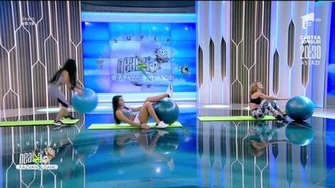 Antrenament pentru abdomen cu ajutorul fitball-ului, cu Diana Stejereanu