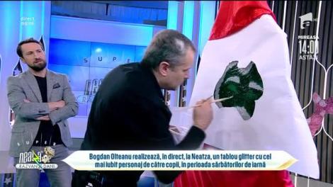 Bogdan Olteanu, un maestru în picturi glitter! Artistul realizează cel mai tare portret al lui Moș Crăciun, în platoul de la Neatza