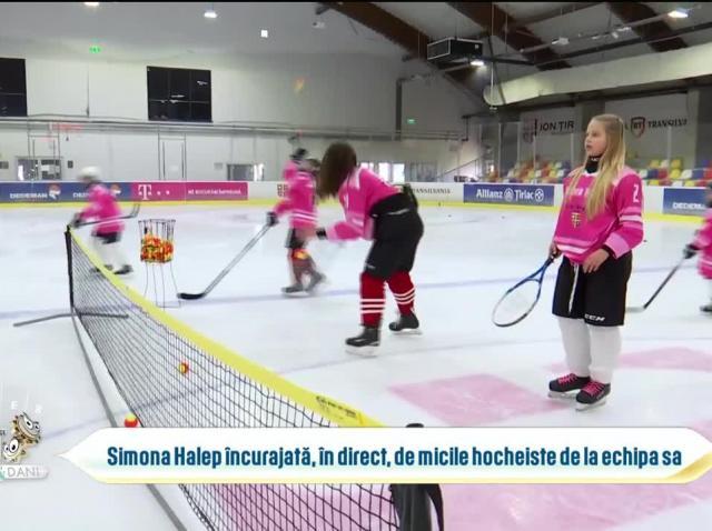Simona Halep încurajată de echipa de hochei care îi poartă numele