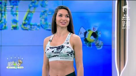 """Antrenament full body. Fitness cu Ilona Brezoianu: """"Eu vreau să mănânc"""""""