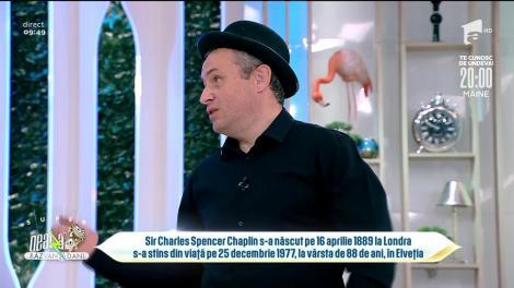 Bogdan Olteanu, pictură glitter cu chipul lui Charlie Chaplin