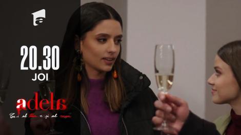 Adela, episodul 44. Adela și Mihai sărbătoresc logodna cu șampanie. Andreea, printre invitați!