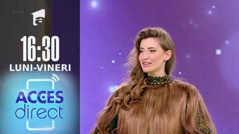Acces Direct, 16 septembrie 2021. Rochia din păr natural, noua tendință în modă! Iulia Albu are trei ținute extravagante