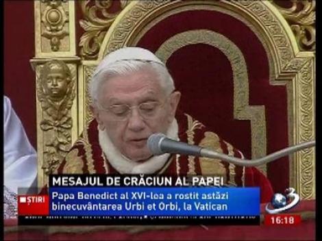 Vezi aici mesajul de Crăciun al lui Papa Benedict al 16-lea