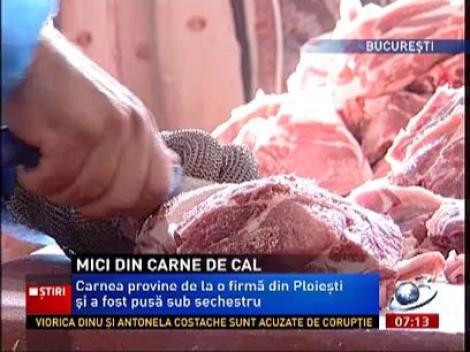 Isteria cărnii de cal continuă! Peste 200 de kilograme de carne de mici, confiscate dintr-un hipermarket din Capitală