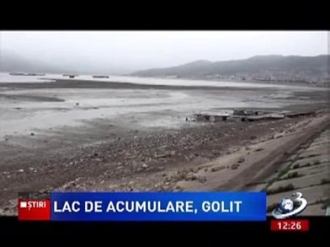 Lacul de acumulare din Orșova a fost golit aproape în totalitate