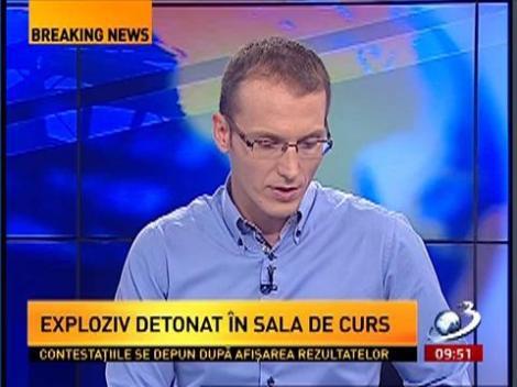 """Atentat cu bombă la Universitatea """"Alexandru Ioan Cuza"""" din Iaşi. Un necunoscut a detonat un dispozitiv artizanal într-o sală de curs"""