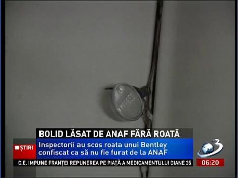 Inspectorii ANAF au lăsat un Bentley fără o roată ca să nu fie furat din curtea lor