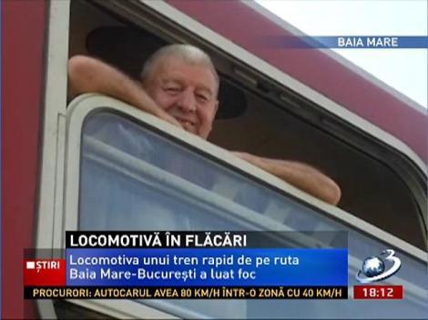 Locomotiva trenului rapid Baia-Mare- București a fost cuprinsă de flăcări pentru a doua oara într-o singură săptămână
