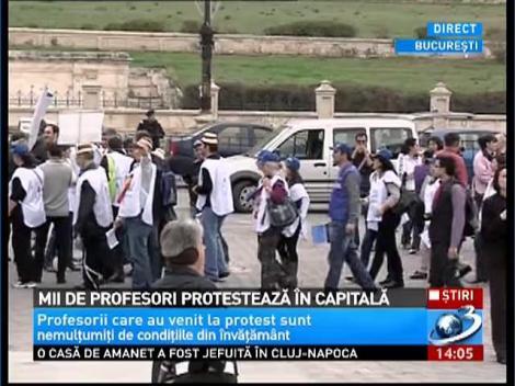 Imagini de la protestul miilor de profesori din Bucureşti