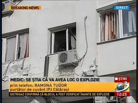 Purtatorul de cuvant IPJ Calarasi, despre explozia care a devastat un bloc in centrul orasului