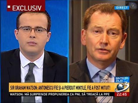 Graham Watson, la Sinteza zilei: Antonescu fie şi-a pierdut minţile, fie a fost mituit pentru a se alătura PPE