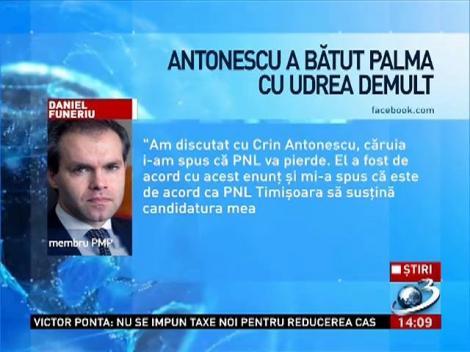 Daniel Funeriu: Antonescu a bătut palma cu Udrea demult