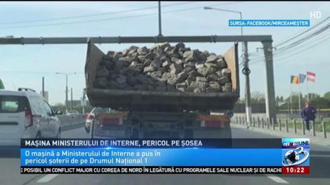 Mașina ministerului de interne, pericol pe șosea